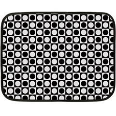 Modern Dots In Squares Mosaic Black White Fleece Blanket (mini) by EDDArt