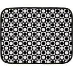 Modern Dots In Squares Mosaic Black White Fleece Blanket (Mini)