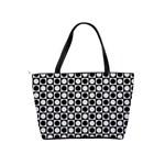 Modern Dots In Squares Mosaic Black White Shoulder Handbags Back