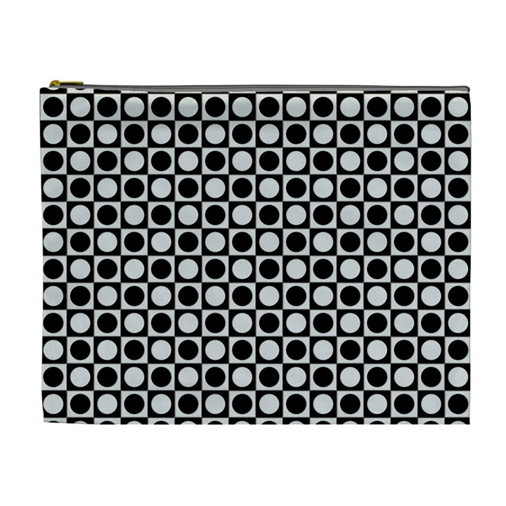 Modern Dots In Squares Mosaic Black White Cosmetic Bag (XL)