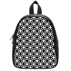 Modern Dots In Squares Mosaic Black White School Bags (Small)