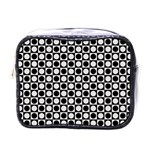 Modern Dots In Squares Mosaic Black White Mini Toiletries Bags Front