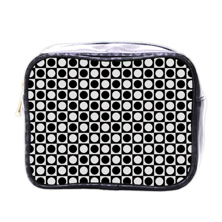 Modern Dots In Squares Mosaic Black White Mini Toiletries Bags