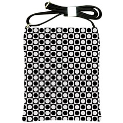 Modern Dots In Squares Mosaic Black White Shoulder Sling Bags by EDDArt