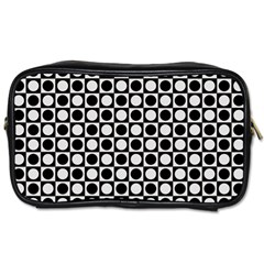 Modern Dots In Squares Mosaic Black White Toiletries Bags 2 Side by EDDArt