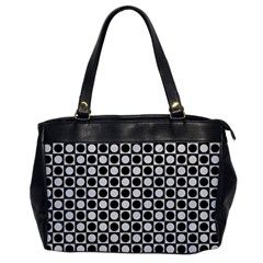 Modern Dots In Squares Mosaic Black White Office Handbags by EDDArt