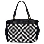 Modern Dots In Squares Mosaic Black White Office Handbags (2 Sides)