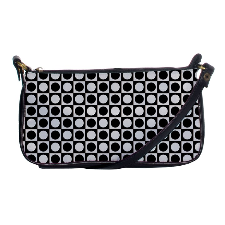 Modern Dots In Squares Mosaic Black White Shoulder Clutch Bags