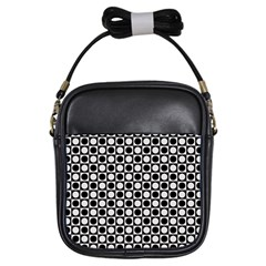 Modern Dots In Squares Mosaic Black White Girls Sling Bags by EDDArt