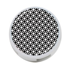 Modern Dots In Squares Mosaic Black White 4-Port USB Hub (One Side)