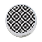 Modern Dots In Squares Mosaic Black White 4-Port USB Hub (One Side) Front