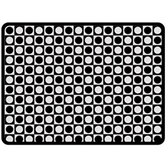 Modern Dots In Squares Mosaic Black White Fleece Blanket (Large)