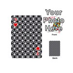 Modern Dots In Squares Mosaic Black White Playing Cards 54 (Mini)  Front - Heart7