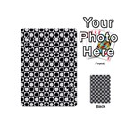 Modern Dots In Squares Mosaic Black White Playing Cards 54 (Mini)  Front - Club4