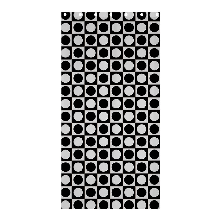 Modern Dots In Squares Mosaic Black White Shower Curtain 36  x 72  (Stall)