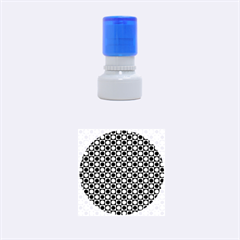 Modern Dots In Squares Mosaic Black White Rubber Round Stamps (small) by EDDArt