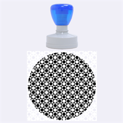 Modern Dots In Squares Mosaic Black White Rubber Round Stamps (large) by EDDArt