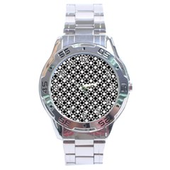 Modern Dots In Squares Mosaic Black White Stainless Steel Analogue Watch