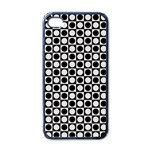 Modern Dots In Squares Mosaic Black White Apple iPhone 4 Case (Black) Front