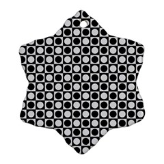 Modern Dots In Squares Mosaic Black White Snowflake Ornament (2 Side) by EDDArt