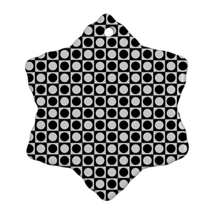 Modern Dots In Squares Mosaic Black White Snowflake Ornament (2-Side)