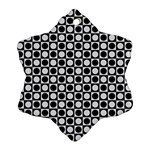 Modern Dots In Squares Mosaic Black White Snowflake Ornament (2-Side) Back