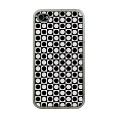 Modern Dots In Squares Mosaic Black White Apple Iphone 4 Case (clear) by EDDArt