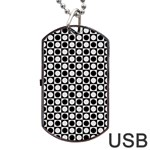 Modern Dots In Squares Mosaic Black White Dog Tag USB Flash (One Side) Front