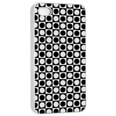 Modern Dots In Squares Mosaic Black White Apple Iphone 4/4s Seamless Case (white) by EDDArt