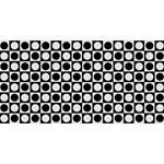 Modern Dots In Squares Mosaic Black White Happy Birthday 3D Greeting Card (8x4) Front