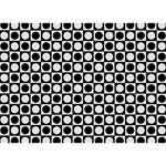 Modern Dots In Squares Mosaic Black White Circle Bottom 3D Greeting Card (7x5) Front