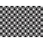 Modern Dots In Squares Mosaic Black White Circle Bottom 3D Greeting Card (7x5) Back