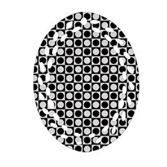 Modern Dots In Squares Mosaic Black White Oval Filigree Ornament (2-Side)