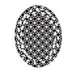 Modern Dots In Squares Mosaic Black White Oval Filigree Ornament (2-Side)  Back