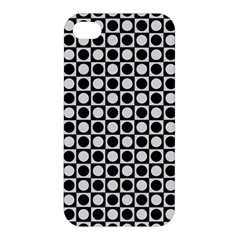 Modern Dots In Squares Mosaic Black White Apple Iphone 4/4s Premium Hardshell Case by EDDArt
