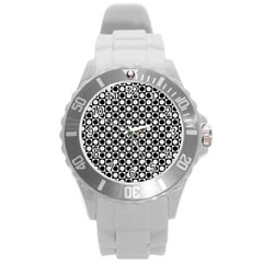 Modern Dots In Squares Mosaic Black White Round Plastic Sport Watch (l) by EDDArt