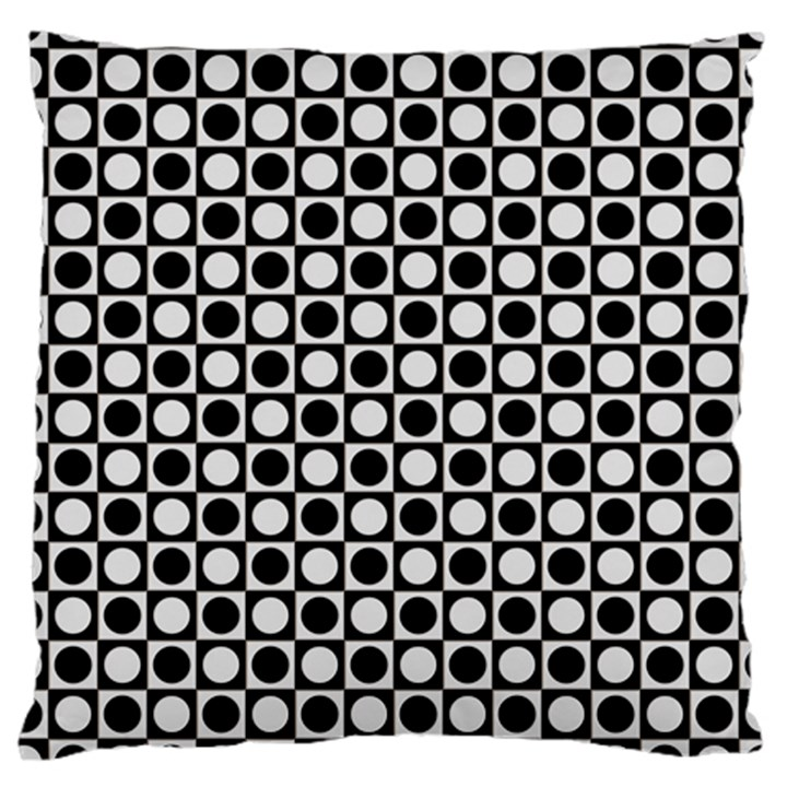 Modern Dots In Squares Mosaic Black White Large Cushion Case (Two Sides)
