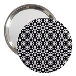 Modern Dots In Squares Mosaic Black White 3  Handbag Mirrors