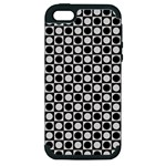 Modern Dots In Squares Mosaic Black White Apple iPhone 5 Hardshell Case (PC+Silicone)