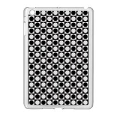 Modern Dots In Squares Mosaic Black White Apple iPad Mini Case (White)