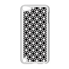 Modern Dots In Squares Mosaic Black White Apple iPod Touch 5 Case (White)