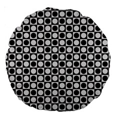Modern Dots In Squares Mosaic Black White Large 18  Premium Round Cushions