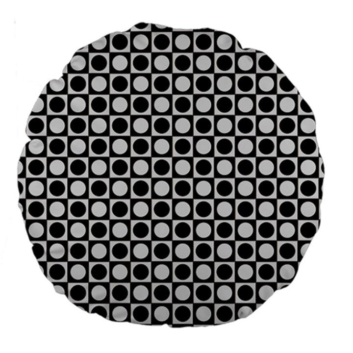 Modern Dots In Squares Mosaic Black White Large 18  Premium Round Cushions