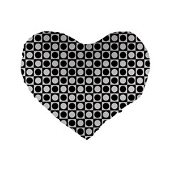 Modern Dots In Squares Mosaic Black White Standard 16  Premium Heart Shape Cushions