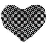 Modern Dots In Squares Mosaic Black White Large 19  Premium Heart Shape Cushions Back