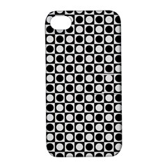 Modern Dots In Squares Mosaic Black White Apple iPhone 4/4S Hardshell Case with Stand