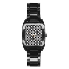 Modern Dots In Squares Mosaic Black White Stainless Steel Barrel Watch