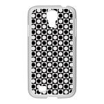 Modern Dots In Squares Mosaic Black White Samsung GALAXY S4 I9500/ I9505 Case (White)