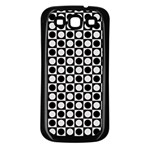 Modern Dots In Squares Mosaic Black White Samsung Galaxy S3 Back Case (Black)