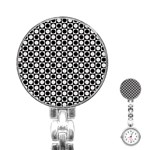 Modern Dots In Squares Mosaic Black White Stainless Steel Nurses Watch